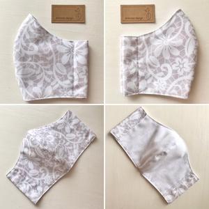Púder - fehér csipke mintás prémium karcmaszk, szájmaszk, maszk - Artiroka design - Meska.hu