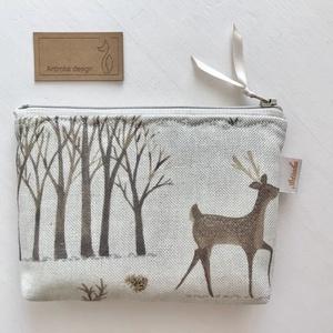 Natúr erdő és őz mintás lprémium  lenvászon irattartó pénztárca, neszesszer - Artiroka design - Meska.hu