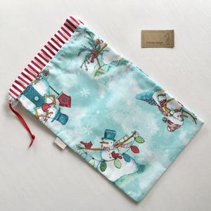 Mikulás zsák vagy ajándék zsák - kék hóember mintás - Artiroka design (Mesedoboz) - Meska.hu
