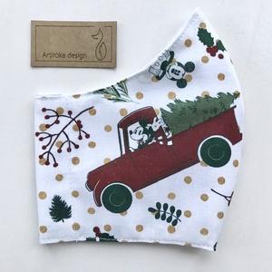 Miki egér karácsonyra készül - PRÉMIUM pamut arcmaszk, szájmaszk, maszk, gyerekmaszk  - Artiroka design, Maszk, Arcmaszk, Női, Varrás, Többször használatos, mosható, környezetbarát szájmaszk, több méretben. Külső anyaga Miki egér mintá..., Meska
