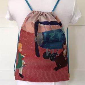 AKCIÓ - Kis herceg és Exupery mintás, egyedi gymbag hátizsák - edzéshez, úszáshoz, kiránduláshoz - Artiroka design, Táska & Tok, Hátizsák, Varrás, Fotó, grafika, rajz, illusztráció, A Kis herceg és Exupery találkozása mintás hátizsák készült vastag, kevert szálas, lenvászon textilb..., Meska