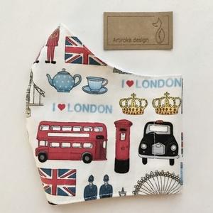 I love London mintás prémium arcmaszk, szájmaszk, gyerek maszk - Artiroka design, Maszk, Arcmaszk, Férfi & Uniszex, Varrás, Meska