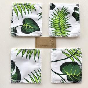 Levél mintás arctisztító párna szett, bambusz frottír és prémium pamut textil felhasználásával - Artiroka design - Meska.hu