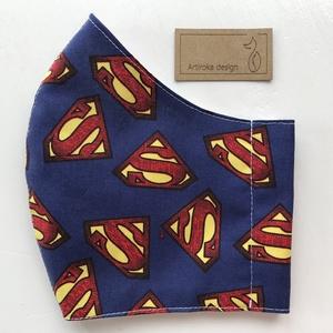 Superman mintás prémium arcmaszk, szájmaszk, maszk, gyerek maszk   - Artiroka design, Maszk, Arcmaszk, Gyerek, Varrás, Meska