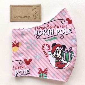 Miki egér karácsonyra készül -rózsaszín  PRÉMIUM pamut arcmaszk, maszk, gyerekmaszk - Mickey egér - Artiroka design (Mesedoboz) - Meska.hu