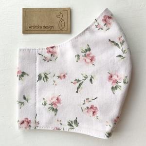 Púder rózsaszín, rózsa mintás  prémium pamut textil arcmaszk, szájmaszk  -  Artiroka design, Maszk, Arcmaszk, Női, Varrás, Többször használatos, mosható, környezetbarát szájmaszk. Külső anyaga púder rózsaszín rózsa mintás p..., Meska