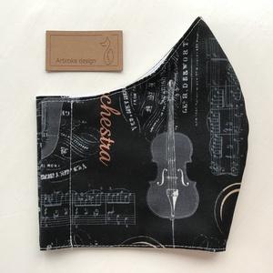Komolyzenei hangszer mintás, prémium arcmaszk, szájmaszk, maszk - L méret- koncert - zene - Artiroka design (Mesedoboz) - Meska.hu