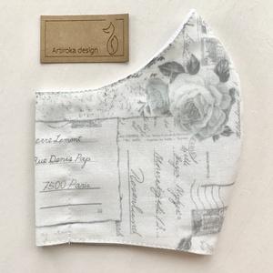 Rózsa mintás prémium pamut, törtfehér - pasztell szürke színű  arcmaszk, szájmaszk, maszk - S MÉRET- Artiroka design (Mesedoboz) - Meska.hu
