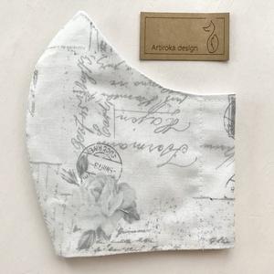 Rózsa mintás prémium pamut, törtfehér - pasztell szürke színű  arcmaszk, szájmaszk, maszk - Artiroka design - maszk, arcmaszk - női - Meska.hu