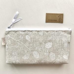 Natúr bézs színű, fehér levél mintás, irattartó pénztárca, neszesszer  - Artiroka design - Meska.hu