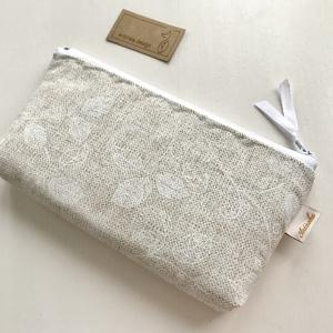 Bézs, fehér levél mintás, irattartó pénztárca, neszesszer  - Artiroka design (Mesedoboz) - Meska.hu