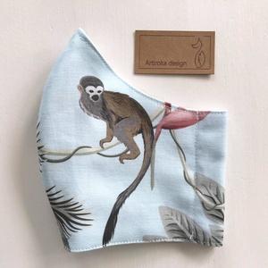 Prémium pamut textil, maki majom mintás arcmaszk, szájmaszk, maszk - S MÉRET  - Artiroka design - Meska.hu