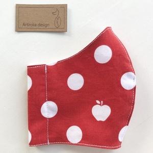 AKCIÓ - Piros pöttyös, alma mintás PRÉMIUM szájmaszk, maszk, arcmaszk - Artiroka design, Ruha & Divat, Varrás, Meska