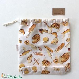 NOWASTE kenyeres bevásárló zacskó - ÖKO zsák - Környezetbarát - Artiroka design, Táska & Tok, Bevásárlás & Shopper táska, Kenyeres zsák, Fotó, grafika, rajz, illusztráció, Papírművészet, Pamut textilből készült ez a stílusos pékárú mintás ÖKO zsák. 3 féle méretben készül, húzózárral a t..., Meska