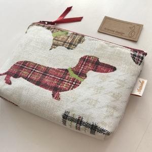 Tacskó, skót kockás mintás irattartó pénztárca, natúr színben tappancsos belsővel - Artiroka design - Meska.hu