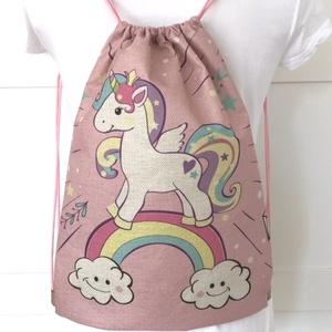 Unikornis mintás rózsaszín gymbag hátizsák, ovis zsák, tornazsák edzéshez, úszáshoz - Artiroka design, Táska & Tok, Gymbag, Hátizsák, Varrás, Meska