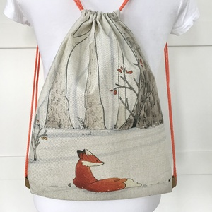A kis róka az erdőben már a tavaszt várja -gymbag hátizsák, edzéshez, kiránduláshoz - Artiroka design , Táska & Tok, Hátizsák, Gymbag, Varrás, Fotó, grafika, rajz, illusztráció, Kedves kis róka mintás hátizsák készült vastag, kevert szálas, lenvászon  textilből.  Hátoldala is e..., Meska