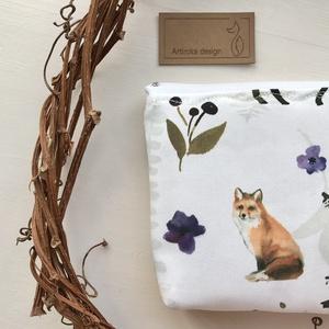 Róka az erdőben - egyedi akvarell mintás prémium pamut irattartó pénztárca, neszesszer  -  Artiroka design - Meska.hu