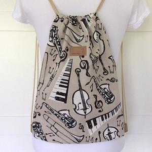 Zenészeknek - Zongora, trombita, cselló, klarinét és hangjegy mintás gymbag hátizsák - Artiroka design  - Meska.hu