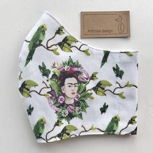 Frida Kahlo  és a papagájok -   prémium pamut textilből készült maszk - Mesedoboz  - Artiroka design , Maszk, Arcmaszk, Női, Varrás, Többször használatos, mosható, környezetbarát szájmaszk, több méretben. Külső anyaga Frida  Kahlo és..., Meska