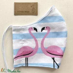 Flamingó mintás arcmaszk, szájmaszk, maszk  - Artiroka design, Maszk, Arcmaszk, Női, Varrás, Többször használatos, mosható, környezetbarát szájmaszk, több méretben. Külső anyaga flamingó mintás..., Meska