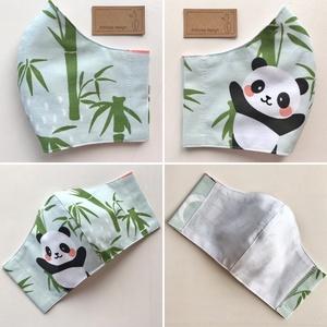 Panda mackó mintás pasztellzöld arcmaszk, szájmaszk, maszk, gyerekmaszk-  M méretben készleten - Artiroka design (Mesedoboz) - Meska.hu