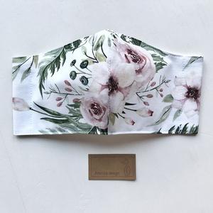 Pünkösdi rózsa mintás prémium pamut  arcmaszk, szájmaszk, maszk - Artiroka design - Meska.hu