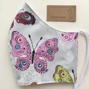 Pillangó mintás női arcmaszk, szájmaszk, maszk, gyerekmaszk - Artiroka design, Maszk, Arcmaszk, Női, Varrás, Többször használatos, mosható, környezetbarát szájmaszk, több méretben. Külső anyaga pillangó mintás..., Meska