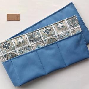 Kék cementlap mintás táska rendszerező -  Artiroka design , Táska & Tok, Kézitáska & válltáska, Belső rendező, Varrás, Kék - bézs fehér cementlapmintás pamut textilből készült ez a praktikus táskarendező, színátmenetes ..., Meska