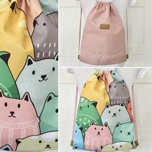 Cica mintás egyedi  gymbag hátizsák,  edzéshez, kiránduláshoz -pasztell vagy színes  -  Artiroka design - táska & tok - hátizsák - Meska.hu