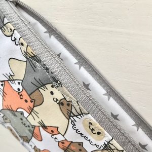 Vidám cica mintás neszesszer, tolltartó, szemüvegtok vagy irattartó  pamut textilből - Artiroka design - Meska.hu