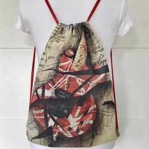 Gitár mintás egyedi gymbag hátizsák, edzéshez, úszáshoz, kiránduláshoz - Artiroka design - Meska.hu