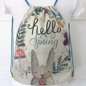 Nyuszi mintás, virgágos gymbag hátizsák, biciklizéshez, kiránduláshoz, edzéshez -  Artiroka design -  - Meska.hu