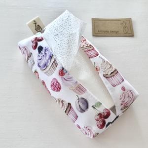 Sütemény, muffin mintás bélelt papírzsebkendő tartó - Artiroka design - Anyák napja - Meska.hu