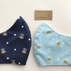 Méhecske és virág mintás kék színű prémium maszk, arcmaszk - Artiroka design - Meska.hu