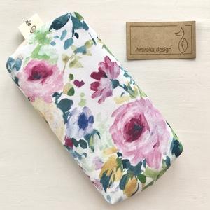Színes, virág mintás,  bélelt papírzsebkendő tartó - Artiroka design, Táska & Tok, Pénztárca & Más tok, Zsebkendőtartó, Varrás, Prémium pamut textilből készült ez a színes, virág mintás papírzsebkendő tartó. Bélése hozzá illő  p..., Meska