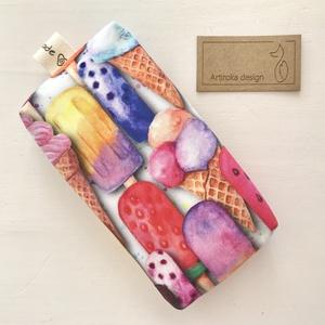 Színes jégkrém és fagylalt mintás,  bélelt papírzsebkendő tartó - Artiroka design, Táska & Tok, Pénztárca & Más tok, Zsebkendőtartó, Varrás, Prémium pamut textilből készült ez a kis elefánt mintás papírzsebkendő tartó. Bélése hozzá illő  pam..., Meska