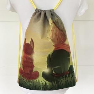 A kis herceg és a róka mintás egyedi gymbag hátizsák - tornazsák edzéshez, úszáshoz - Artiroka design - Meska.hu