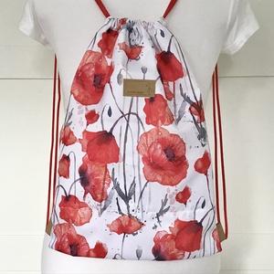 Pipacs mintás, piros - fehér  VÍZLEPERGETŐS gymbag hátizsák - tornazsák edzéshez, úszáshoz - Artiroka design, Táska & Tok, Hátizsák, Varrás, Hímzés, Meska