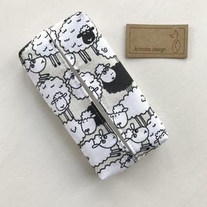 Bárány mintás bélelt papírzsebkendő tartó - Artiroka design - táska & tok - pénztárca & más tok - zsebkendőtartó - Meska.hu
