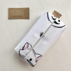 Cica mintás bélelt papírzsebkendő tartó - Artiroka design - táska & tok - pénztárca & más tok - zsebkendőtartó - Meska.hu