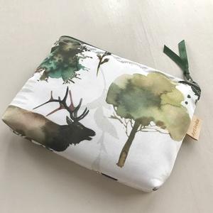 Róka és szarvas találkozása - egyedi akvarell mintás prémium pamut irattartó pénztárca, neszesszer  -  Artiroka design - Meska.hu