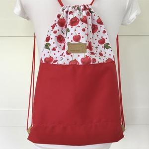 Cseresznye mintás VÍZLEPERGETŐS gymbag hátizsák - tornazsák edzéshez, úszáshoz - Artiroka design, Táska & Tok, Varrás, Hímzés, Meska