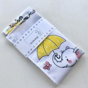 Elefánt sárga esernyővel és színes Unikornis mintás zsebkendő vagy szalvéta szett - NoWaste, Szépségápolás, Egészségmegőrzés, Varrás, Hímzés, Elefánt sárga esernyővel és színes Unikornis mintás pamut textilből készültek ezek a zsebkendők vagy..., Meska