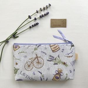 Levendula és bicikli mintás neszesszer - Artiroka design - táska & tok - pénztárca & más tok - Meska.hu