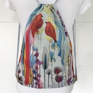 Madarak a nádasban - egyedi akvarell mintás gymbag hátizsák - Artiroka design, Táska & Tok, Hátizsák, Varrás, Hímzés, Meska