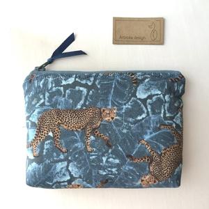 Leopárd mintás irattartó pénztárca kék színben - Artiroka design  - táska & tok - pénztárca & más tok - pénztárca - Meska.hu