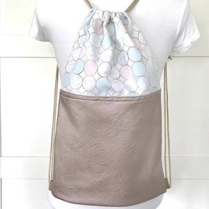 Rosegold - fehér  buborékos gymbag hátizsák külső cipzáras zsebbel - edzéshez,  úszáshoz, Táska & Tok, Hátizsák, Varrás, Meska
