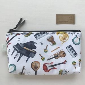 Hangszer mintás, prémium irattartó pénztárca, tolltartó, szemüvegtok neszesszer -  zene rajongóknak, Táska & Tok, Neszesszer, Varrás, Meska