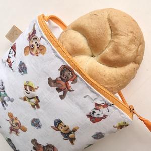 Kiskutya mintás szendvics, uzsonna csomagoló, Mancs őrjárat mintával - megrendelésre / NoWaste leírása- Artiroka design , Ovi- és sulikezdés, Uzsonna- & Ebéd tartó, Ebéd tasak, doboz, Varrás, Meska